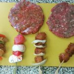 Burgers and Skewers made using products from Tongmaster Seasonings.
